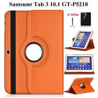 360 Rotating Stand Flip Leather Case For Samsung Galaxy Tab 3 10.1 inch P5200 P5220 P5210 GT-P5200 Tab3 10.1 Case+Film+Pen