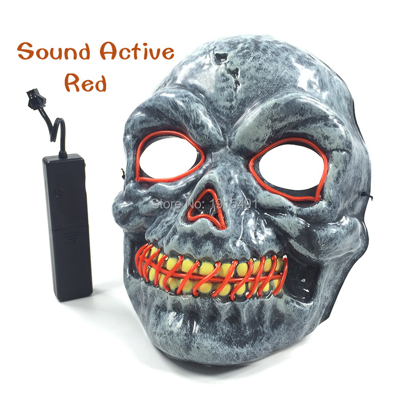 Top Selling DC3V Voice Control EL Cable Rope Slit Mouth Evil Mask Burning Man Festival Neon Led Scary Mask as Holiday Lighting