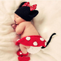 New Fashion Baby Hats Toddler Girls Boys Costume Knitted Cap Baby Hat Bow Newborn Photography Props