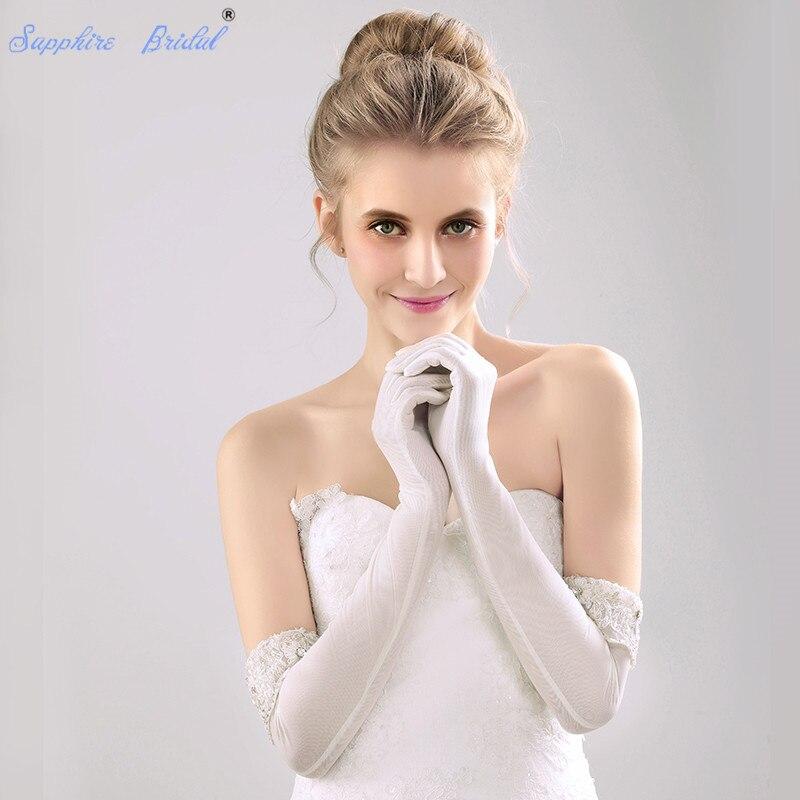 Saphir mariée longue gants formels 12BL 48 cm au-dessus du coude Long coréen mariée gants manchette dentelle perles