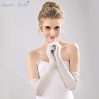 Sapphire Bridal Long Formal Gloves 12BL 48cm Above Elbow Long Korean wedding bride gloves cuff lace beads