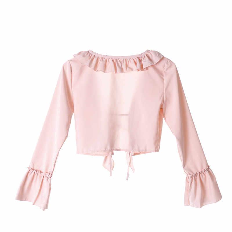 53370360c6c781 ... Sexy Fashion Ruffles Pink Sweet Shirt Women Casual Crop Top Summer Lace  up V-Neck