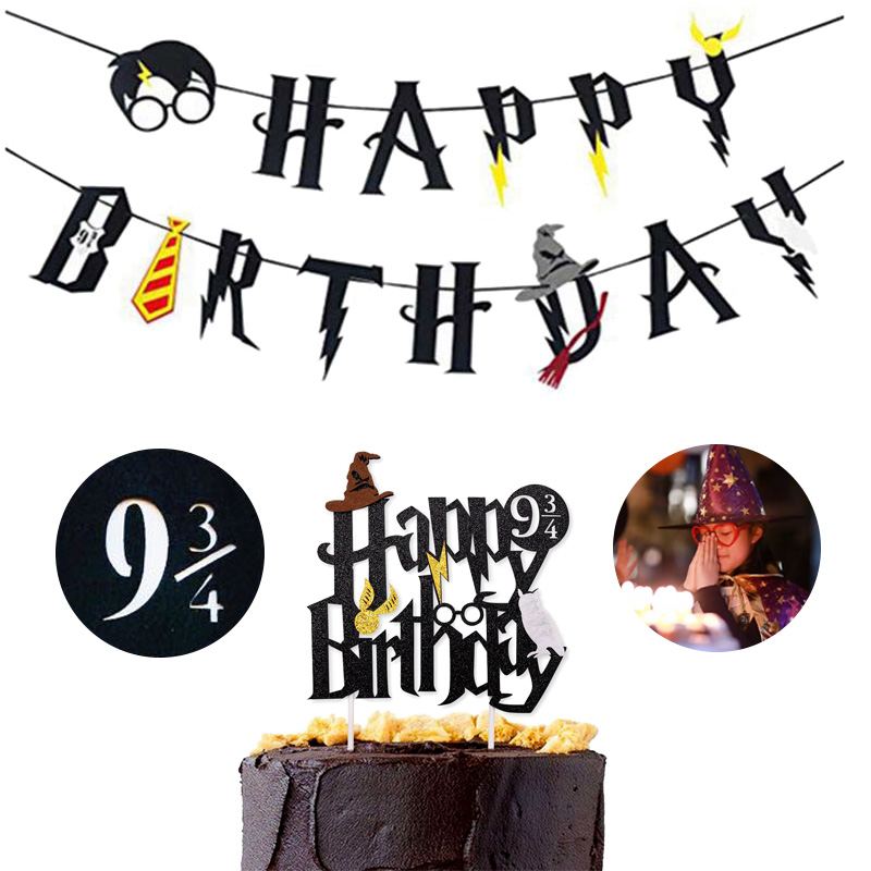 Harry Potter Happy Birthday Banner Cake Topper Hogwarts Flags Bunting For Baby Kids Favors Magic Theme