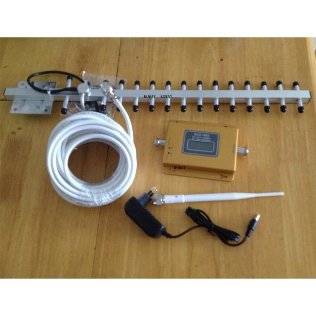 DCS repetidor de sinal de 1800 mhz DCS reforço de sinal para telefone celular, amplificador de sinal com 18dbi yagi cabo conjunto completo