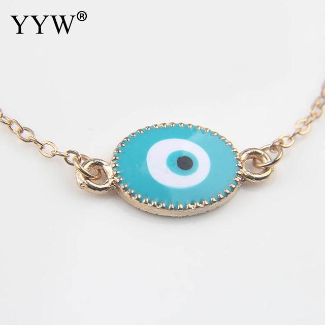 Blue Round Turkey Evil Eye Bracelet Women Charm Bracelets For Gold Color Link Chain
