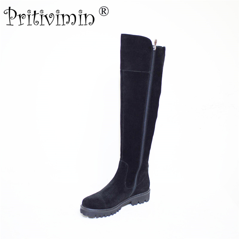 Pritivimin FN80 Ladies kide suede  bottes femmes winter women handmade shoes girls  warm  wool  plush over the knee high boots pritivimin fn81 winter warm women real wool fur lined shoes ladies genuine leather high boot girl fashion over the knee boots