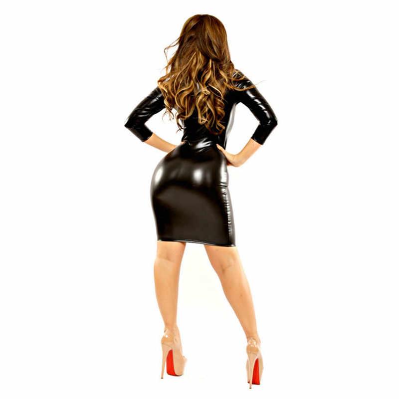 Эротическое платье 2019 для женщин пикантные wetlook латекс Bodycon ПВХ сексуальная искусственная кожа белье Комбинезон Pole Dance одежда для клуба