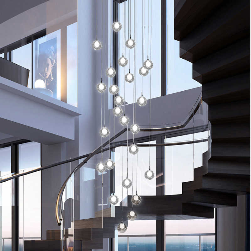Long Stairwell Chandelier Living Room Hall Stairwell Chandelier Lighting K9 Crystal Drop Hanging Lamp High Ceiling Chandelier Chandeliers Aliexpress