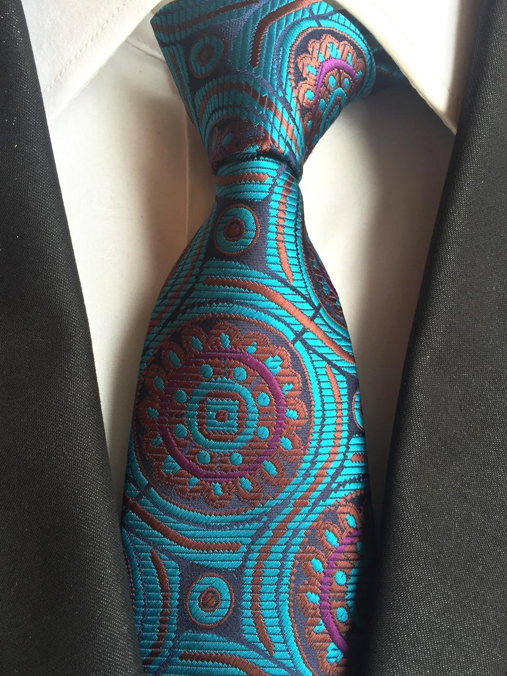 New Classic Geometric Navy Blue White JACQUARD WOVEN Silk Men/'s Tie Necktie