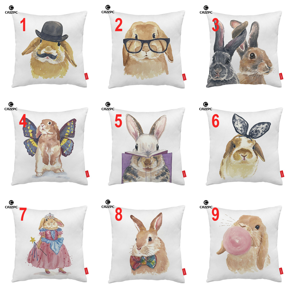Watercolor Funny Cute Bunny Rabbit Glasses Hat Bubble Print Decorative  Pillowcase Cushion Covers Sofa Chair Home