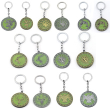 Fashion Glowing Game of Thrones Car Keychain Glow in the Dark House Stark Wolf Targaryen Dragon Keyring Souvenirs Gifts