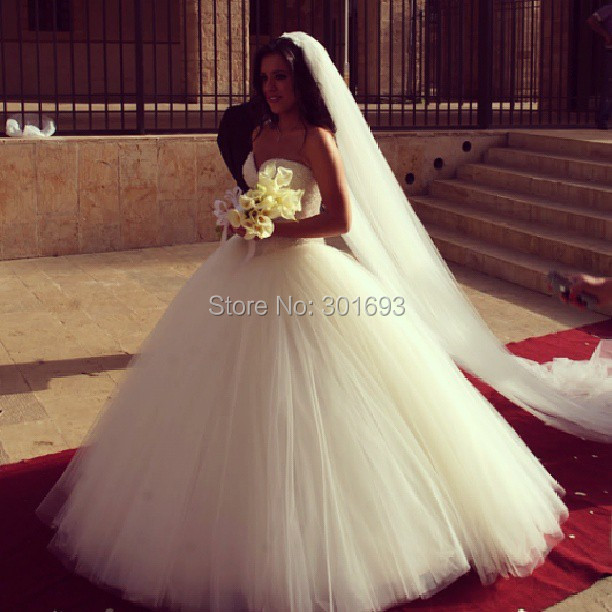 OW104 Oumeiya Tulle Sweetheart Brush Train Princess Ball Gown