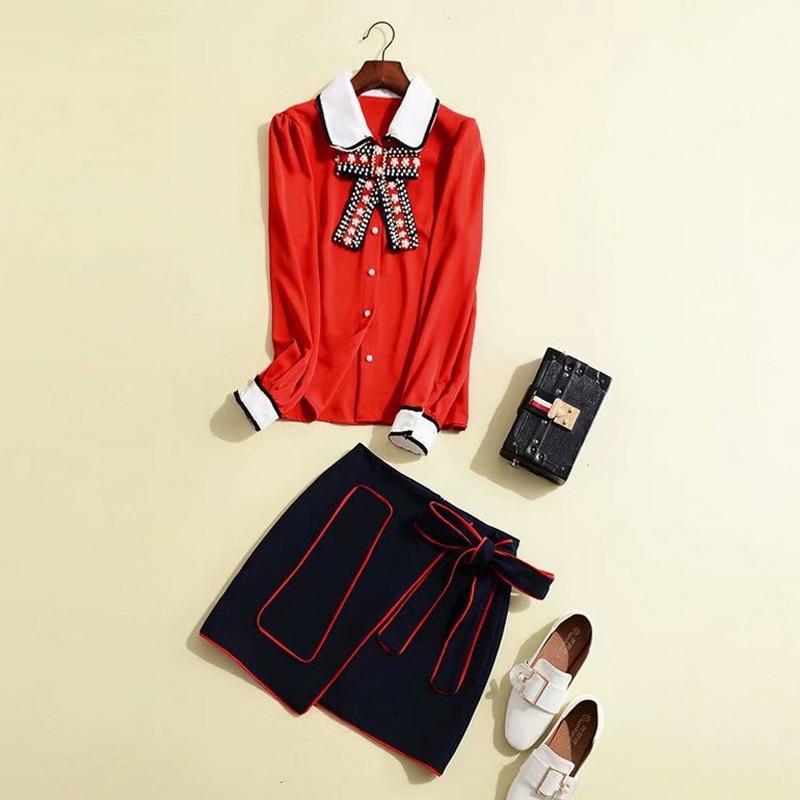 Orange Wear Arc Club Cravate coréen Dames Perles Élégant Printemps Jupe Mini Rouge Vêtements Costume Costumes 2019 Nouvelle Chemise Tw4Rq0vR
