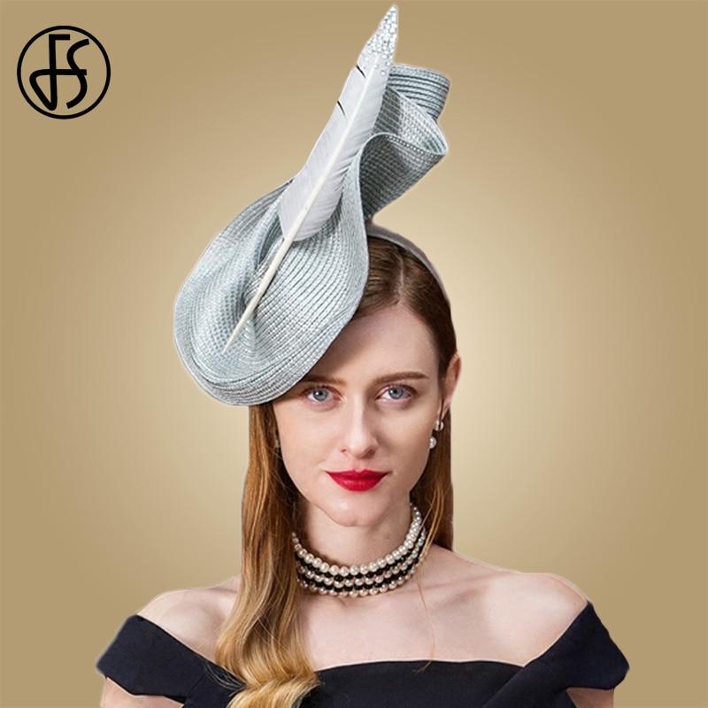 593059442 FS Fascinators For Women Sinamay Pillbox Hat Weddings Vintage Black Gray  Elegant Fedora Wedding Ladies With Feather Church Hats