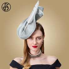 FS Fascinators For Women Sinamay Pillbox Hat Weddings Vintage Black Gray Elegant Fedora Wedding Ladies With Feather Church Hats
