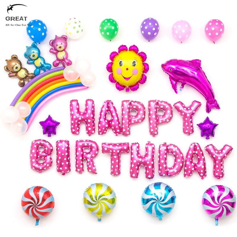 57pcs/lot  Flash Sale Alphabetic Happy Birthday Balloons Letter Aluminum Cartoon