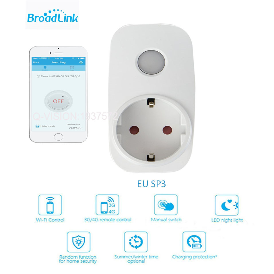 imágenes para Broadlink SP3 Contros CC SP MINI3 Wireless Smart plug Power Socket 16A/10A Temporizador Wifi Control Remoto para el Hogar Inteligente IOS Android