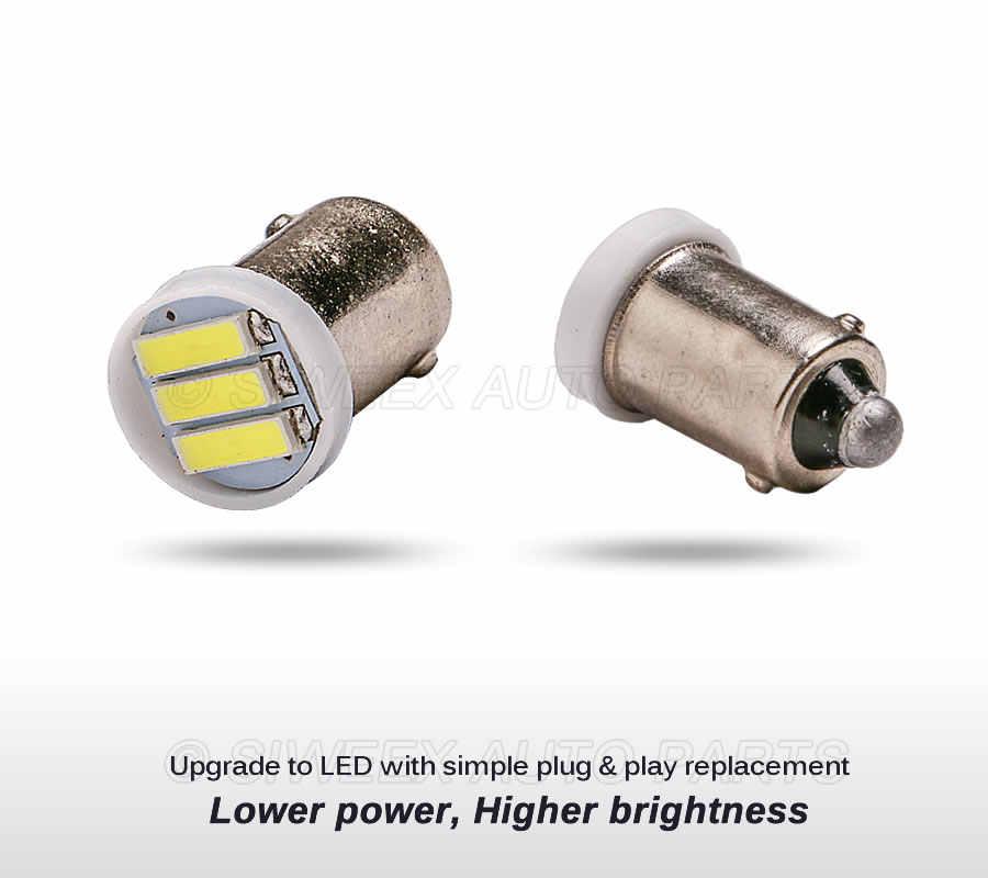 4X BA9S T4W 2W 3LED 7020 SMD LED Cahaya Putih 6500K Mobil Auto Backup Cadangan Bohlam Lampu DC 12V