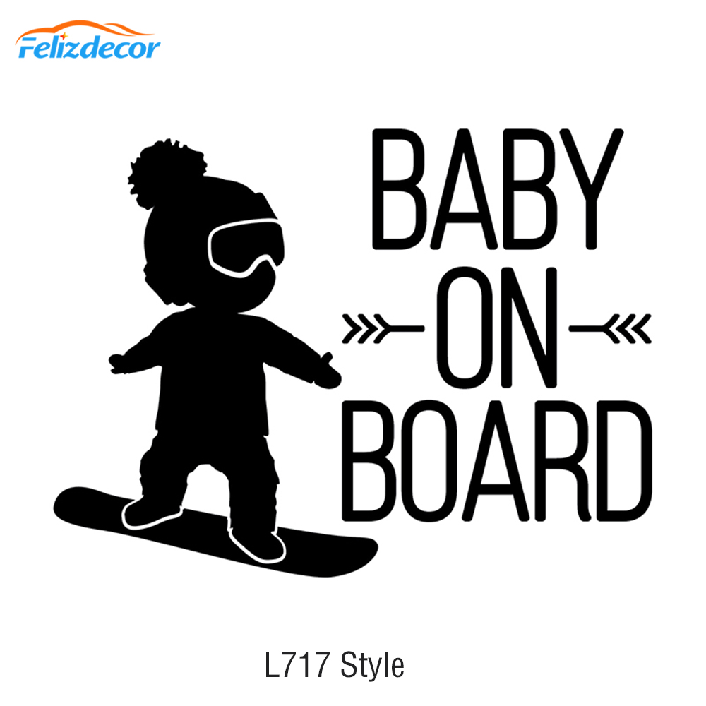 16*12cm White Black Baby On Board Car Decal,BOY On Snowboard Vinyl Car Stickers Cool Car Window Decor Hot Selling L717