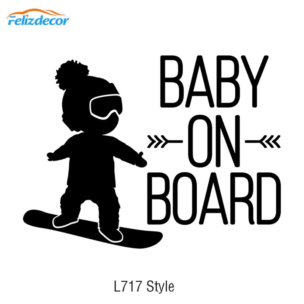 16*12 см белый черный ребенок на борту Автомобильная наклейка, мальчик на сноуборде виниловые автомобильные наклейки крутой автомобиль окно ...