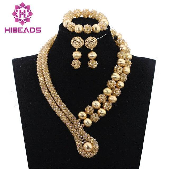 dbc86846c5b61f € 37.37 45% de réduction|Merveilleux Champagne or Dubai mariage perles  africaines ensembles de bijoux indien cristal bijoux de mariée ensemble ...