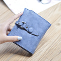Hot selling nubuck leather short women wallets hasp fashion vintage 3 folds women coin purse handbag