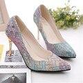 2016 del otoño del Resorte de los altos talones Sexy mujer Bombas zapatos de las señoras de Cuero Más Tamaño Zapatos De Boda Shallow Apertura Individual P33