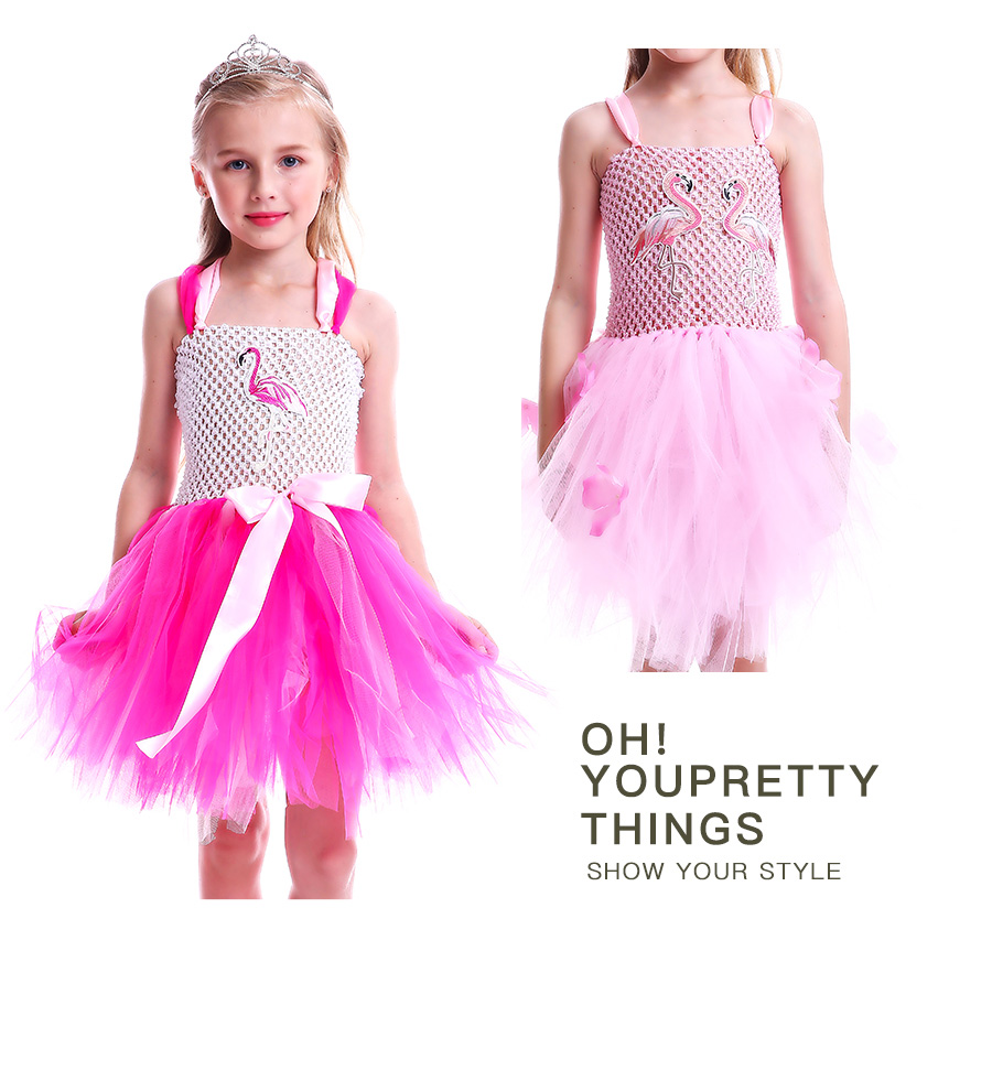 Girls Flamingo Princess Dress Pink Flower Tulle Clothes Kids Birthday Party Dresses 2018 Brand Animal Costume Flamingo Vestidos (1)