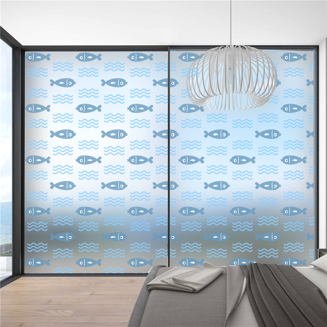 Fish Privacy Glass Window Film Frosted Self Adhesive