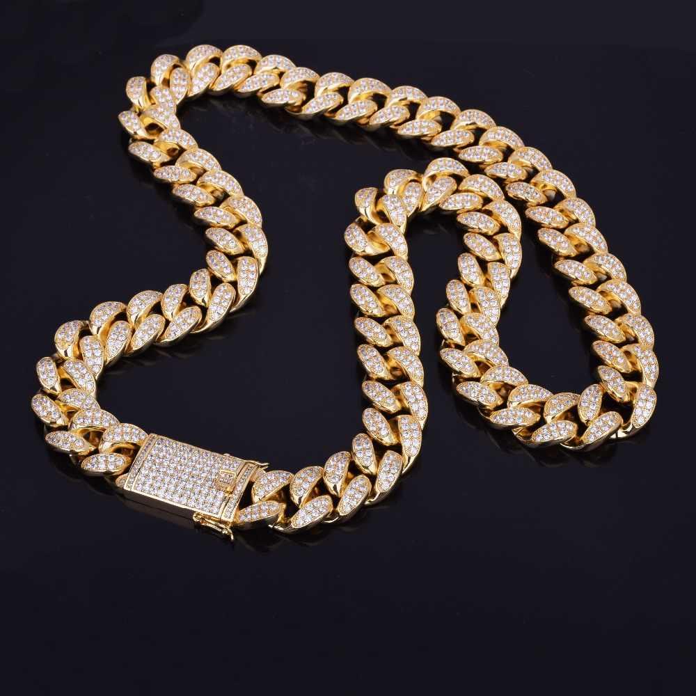 """ผู้ชาย 20 มม.Iced OUT Zircon Miami Cuban Link สร้อยคอ Choker Bling Bling Hip hop เครื่องประดับ Gold Silver สี 18 """"20"""""""