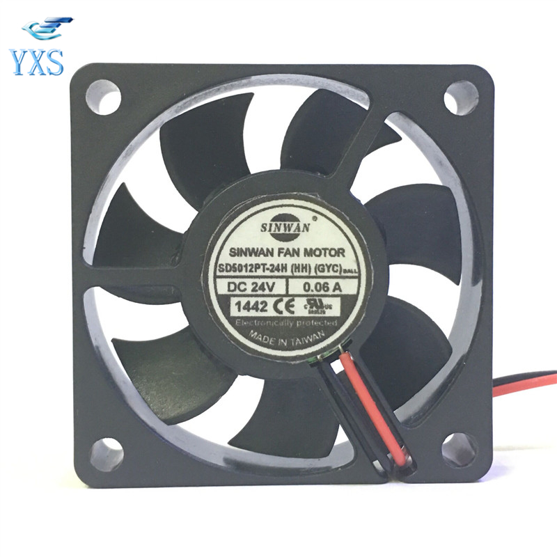 SD5012PT-24H DC 24V 0.06A 5010 5CM <font><b>50</b></font>*<font><b>50</b></font>*10mm <font><b>2</b></font> Wires Inverter Cooling Fan image