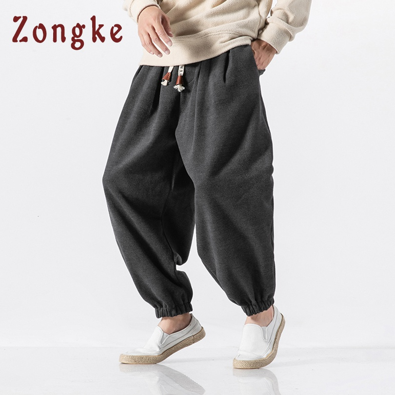 Zongke Winter Pants Men Joggers Street-Style Chinese Warm Woolen