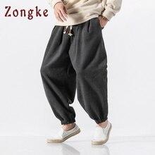 Zongke, китайский уличный стиль, шерстяные теплые зимние штаны, мужские джоггеры, спортивные штаны, штаны в стиле хип-хоп, Мужская одежда,, уличная одежда, мужские штаны