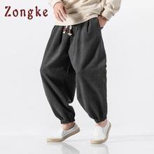 Zongke Chinese Street Style Woolen ciepłe Zimowe Spodnie Mężczyźni Joggersy spodnie hip hop Spodnie męskie ubrania 2018 Streetwear mężczyźni spodnie tanie tanio Mężczyzn Pełna długość Chiński styl Połowie Hip hop Spodnie Mężczyźni Z Żywiec Luźne Sukno Spodnie harem 2 29-3 47