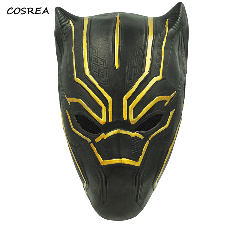 Black Panther Marvel Movie Cosplay Costumes Adult Men Superhero Halloween Carnival Party Decoration Props Latex Helmet Masks