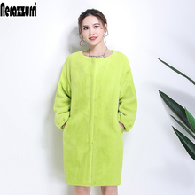 Nerazzurri Faux Fur Coat women drop shoulder thicken warm female fake sheared mink fur jackets plus size furry outwear 6xl 7xl