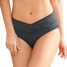 Женское однотонное бикини с высокой талией, Одежда для пляжа, плавки, пляжные шорты, тянущиеся штаны, синий, черный, одежда для плавания, купальный костюм# Y1