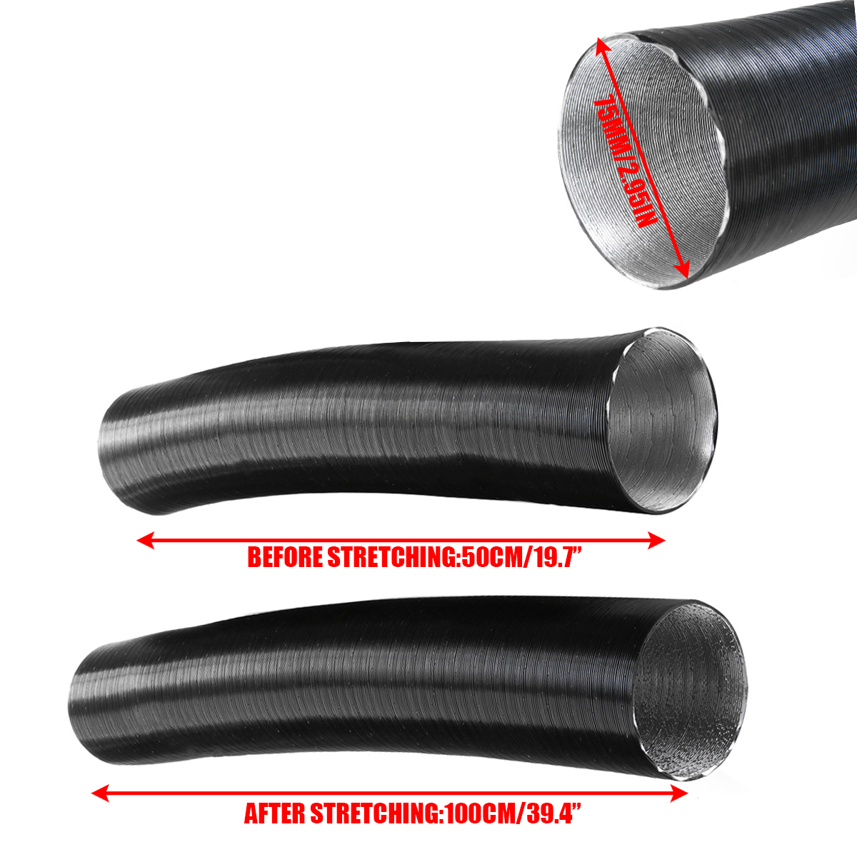 1 Set 75mm Heater Pipe Ducting Y Piece Air Outlet Vent Heater Pipe For 75mm Internal Diameter Air Ducting