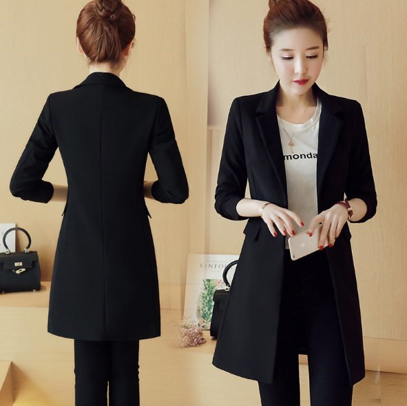 Single Button Black Office Coats Slim Fit Blazer Women Long Jackets Korean Style Ladies Notched Collar Clothing