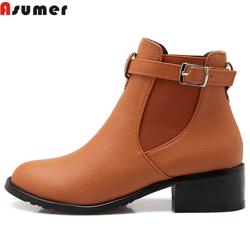 Asumer Plus size 33-43 new fashion women shoes round toe low heels slip on buckle ankle boots black yellow beige autumn boots 2018 new women round toe chunky heel ankle boots ankle strip buckle slip on black big size spring autumn dress shoes