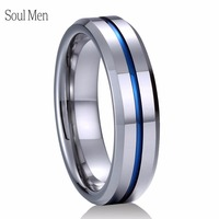 6mm Tungsten Ring For Men Women Comfort Fit Polish Finsh Wuth Blue Groove Boy Girl S