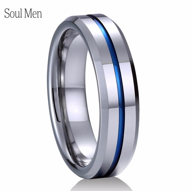 Tungsten Ring Blue Groove