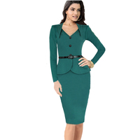 Autumn New Womens Work Office Dresses Green Long Sleeve V Neck Ruffles Business Party Formal