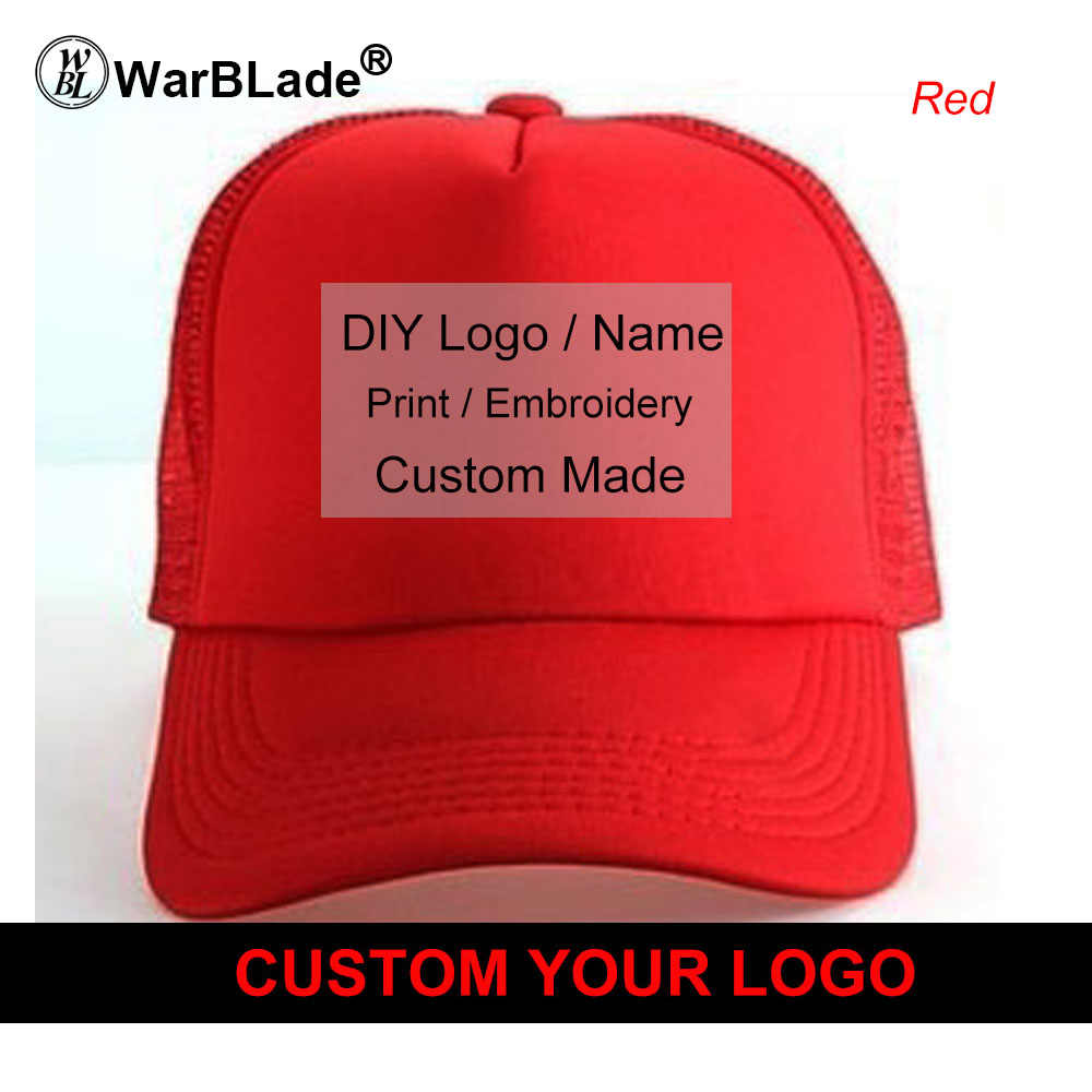 c6b5d93a80e85d ... WarBLade Custom Trucker Hat Flat Bill Visor Free Logo Men Women Summer Snapback  Caps Sports Team ...