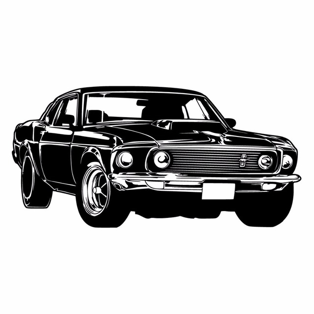Clic Black Mustang Car Wall Decor Sticker Sports Decal Vintage Racing Art Retro
