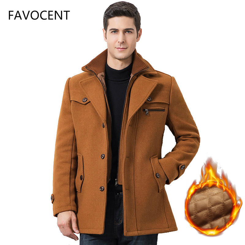 Winter Men's Casual Wool Trench Coat Fashion Business Medium Solid Thicken Slim Windbreaker Overcoat Jacket Male Plus Size 5XL