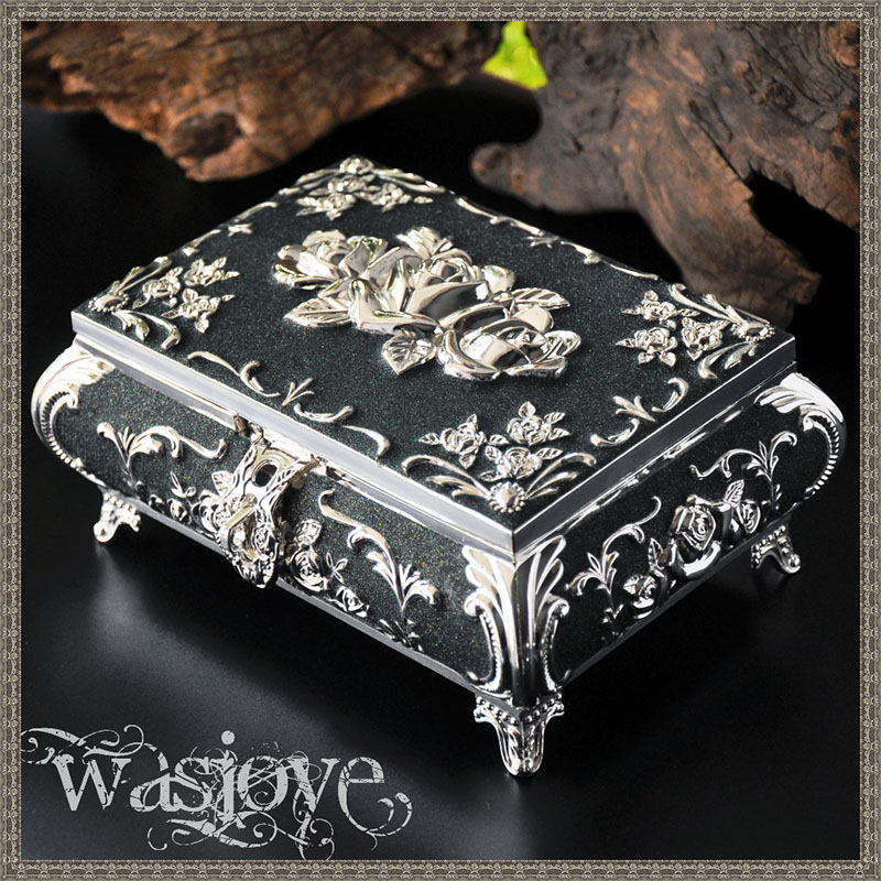 4 Colors Vintage Jewellery Case Fashion Jewelry Box Zinc-alloy Metal Trinket Box Carved Flower Rose Square Shaped Storage Gift zd131 c 3v universal gas water heater solenoid valve general gas water heater accessories