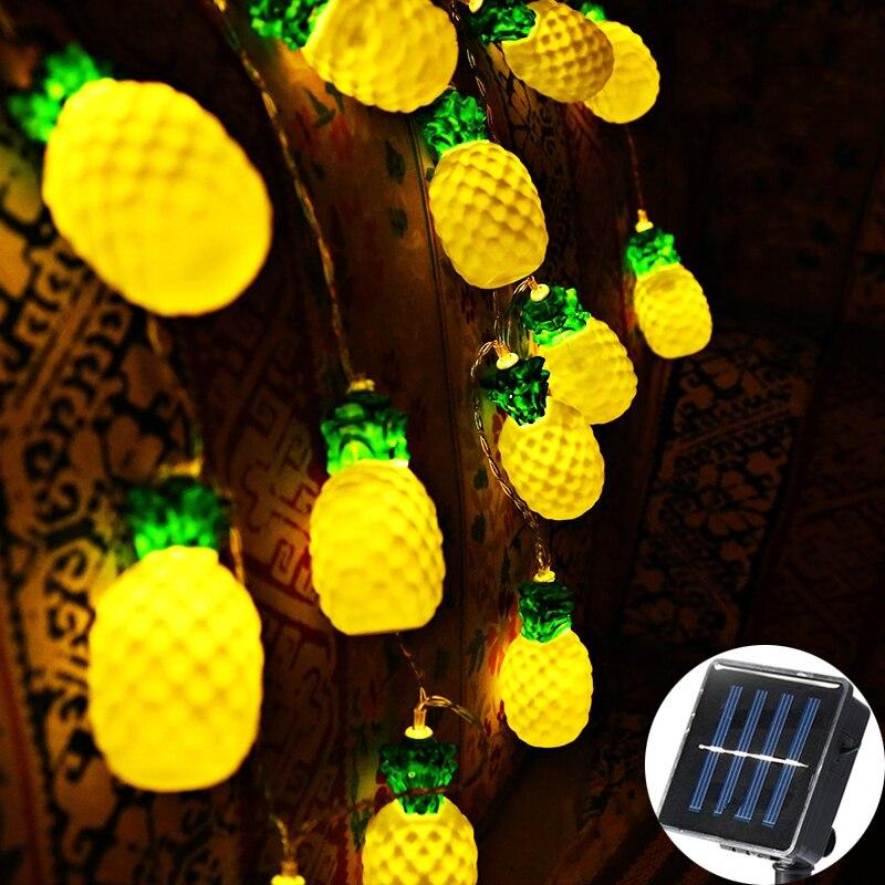 20 LED guirlande lumineuse solaire guirlande lumineuse d'extérieur fée 8 cm jaune grand ananas jardin Patio mariage décoration de noël chaîne lumineuse