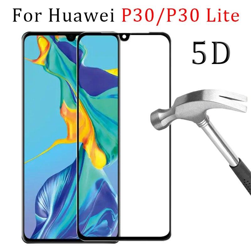 5d pleine colle verre trempé étui pour huawei p30 lite couverture de protection écran protecteur téléphone sécurité tremp sur p 30 p30lite lumière