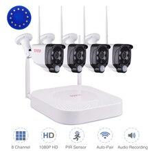 Беспроводная система видеонаблюдения Tonton 1080P, 8 каналов, NVR, аудиозапись, 2 МП, наружная Wi Fi IP камера видеонаблюдения, комплекты видеонаблюдения с пассивным ИК датчиком